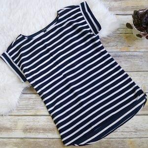 Ann Taylor Striped Front Pocket Blouse